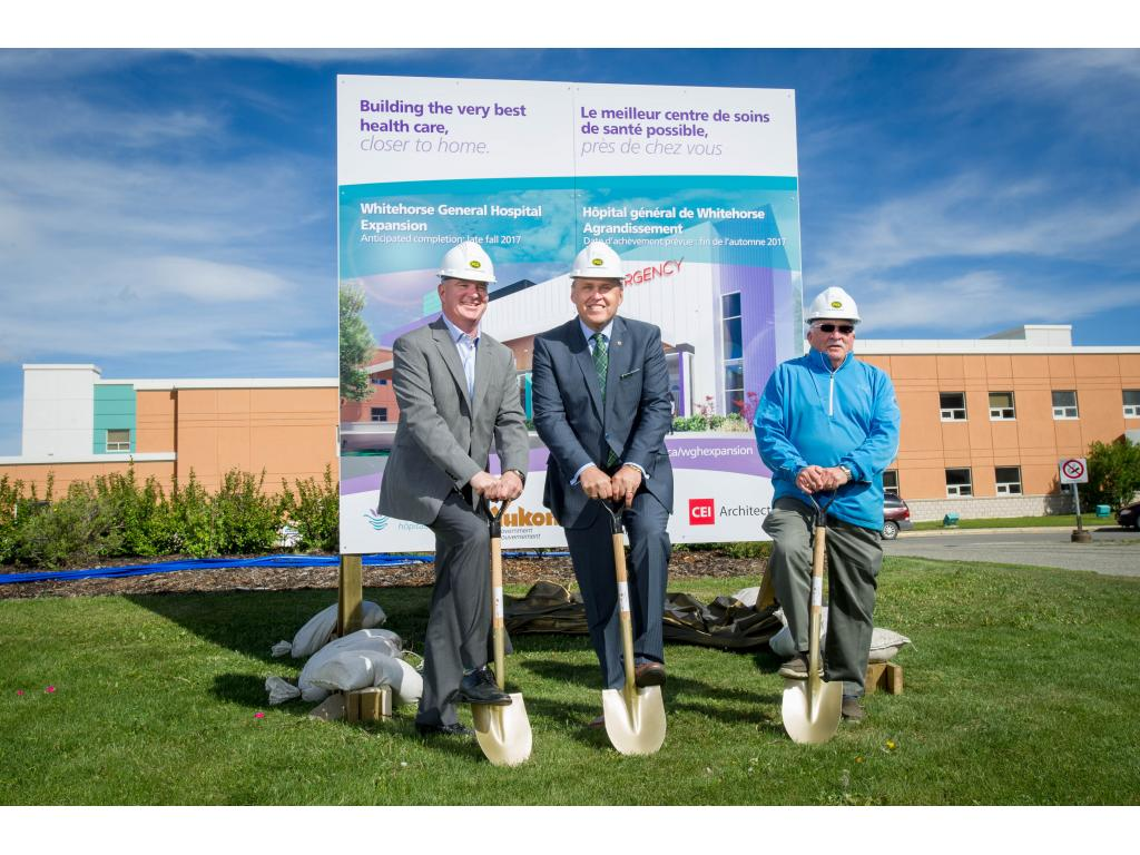 Todd Craigen (PCL), Yukon Premier Darrell Pasloski, Craig Tutuon (Chair Yukon Hospitals) break ground on WGH expansion