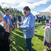 Kwanlin Dun First Nation Elder Billie Giroux and youth Doronn Fox perform a blessing ceremony for WGH expansion
